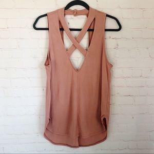[American Threads] criss cross halter pink top M
